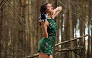 Картинка Фотокамера Боке Брюнеток Руки Платье Поза