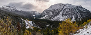 Фотографии Канада Гора Дороги Пейзаж Панорама Alberta Природа