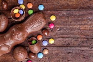 Картинка Шоколад Зайцы Пасха Драже Шаблон поздравительной открытки Продукты питания