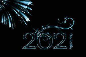 Картинка Новый год 2021 Звездочки Слова Английская На черном фоне