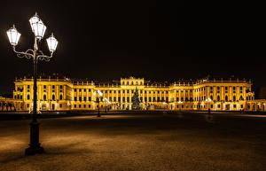 Картинка Новый год Австрия Вена Дворец В ночи Уличные фонари Городская площадь Елка Schönbrunn Palace Города