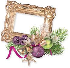 Фотографии Рождество Шарики Ветка Ленточка Звездочки Колокольчики Бантики Шаблон поздравительной открытки