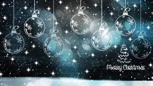 Фото Новый год Шар Снежинки Текст Английская