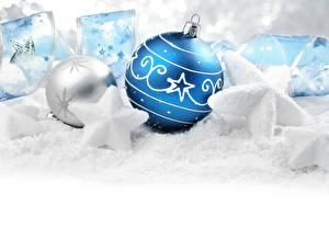 Фотографии Рождество Шар Звездочки Лента