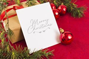 Картинки Новый год Ветвь Шарики Коробка Лист бумаги Слово - Надпись Английская