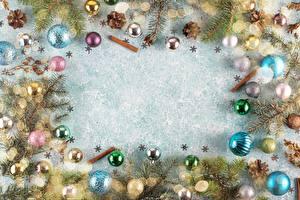 Картинка Рождество На ветке Шар Шишки Шаблон поздравительной открытки