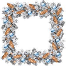 Обои Новый год Ветвь Шарики Шишка Шаблон поздравительной открытки