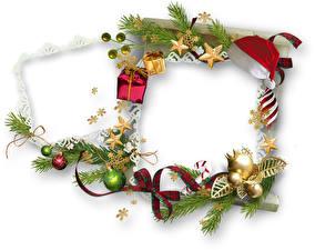 Обои Рождество На ветке Звездочки Лента Шар Шаблон поздравительной открытки