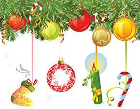 Фотографии Рождество Свечи Шар Ветки
