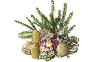 Обои Рождество Свечи Ветвь Шар