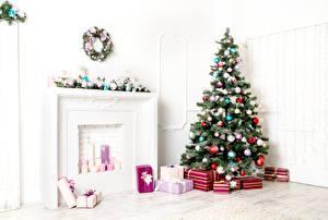 Фотографии Новый год Новогодняя ёлка Шарики Подарки