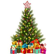 Картинки Новый год Елка Шар Подарки Коробки Белым фоном