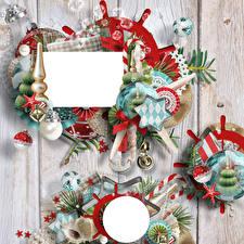Фотография Рождество Новогодняя ёлка Шар Доски На ветке Звездочки Шаблон поздравительной открытки