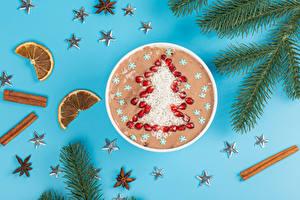 Фотография Рождество Корица Мюсли Гранат Цветной фон На ветке Звездочки Новогодняя ёлка Зерна Продукты питания