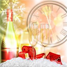 Фото Рождество Часы Шампанское Бокалы 2 Бутылка Еда