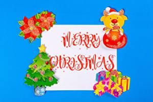 Обои Новый год Цветной фон Лист бумаги Слово - Надпись Английский Подарок Елка