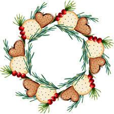 Фотографии Новый год Печенье Ягоды На ветке Шаблон поздравительной открытки