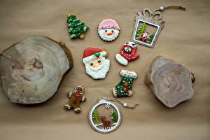 Фотографии Рождество Печенье Олени Дизайна Санта-Клаус Елка Рукавицы Носки Пища