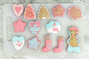 Фотография Новый год Печенье Дизайна Сапогов Сердца Звездочки Новогодняя ёлка Пища