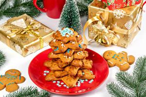 Обои Рождество Печенье Подарок Ветка Дизайн Инглийские Слово - Надпись Продукты питания
