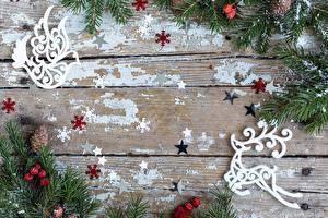 Фотография Новый год Олени Ягоды Ветвь Звездочки Шишка Снежинки