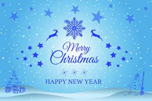 Фото Рождество Олени Снежинки Звездочки Слово - Надпись Английский Снеговики