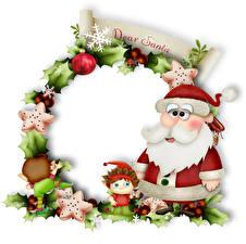 Картинки Новый год Эльф Дед Мороз Звездочки Снежинки Шарики Листья Слово - Надпись Английский Шаблон поздравительной открытки