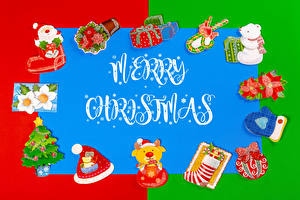 Картинки Рождество Инглийские Текст Новогодняя ёлка Дед Мороз Шапка Рукавицы Подарки Лист бумаги