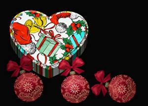 Обои Рождество Подарки Коробки Шарики Черный фон