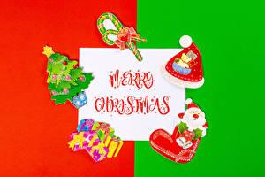 Фотография Новый год Леденцы Лист бумаги Слово - Надпись Английский Шапка Елка Подарок Дед Мороз Серце