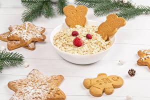 Обои Рождество Овсянка Печенье Малина Доски Дизайн Еда