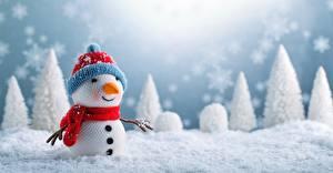 Картинка Рождество Снеговики Снег