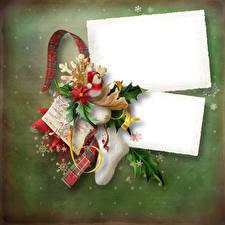 Обои Новый год Снеговик Носки Лента Снежинки Шаблон поздравительной открытки
