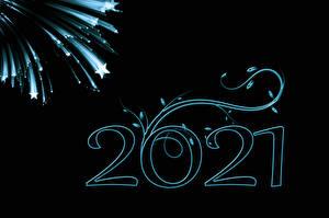 Картинка Новый год Звездочки 2021 Черный фон