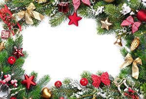 Картинка Новый год Шаблон поздравительной открытки На ветке Звездочки