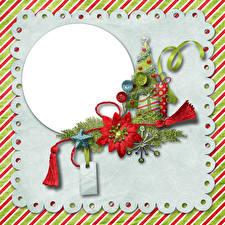 Обои Рождество Шаблон поздравительной открытки Елка Ленточка Звездочки