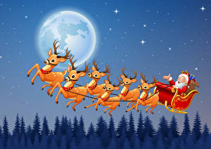 Обои Рождество Векторная графика Олени Сани Дед Мороз Луной Ночь Полет