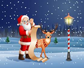 Картинки Новый год Векторная графика Олени Уличные фонари Снегу Дед Мороз Униформе Очках Бородой Лист бумаги