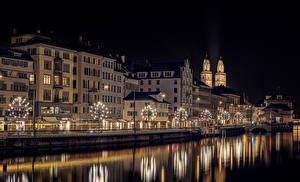 Фото Рождество Цюрих Швейцария Река Здания Ночные Гирлянда Улице