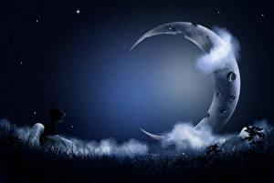 Картинка Полумесяц Кошки Небо Звезды Облачно Ночные