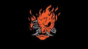 Фотография Cyberpunk 2077 Логотип эмблема Самурай На черном фоне Игры