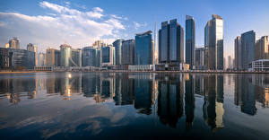 Фотографии ОАЭ Дубай Здания Небоскребы Панорама Business Bay Skyline Города