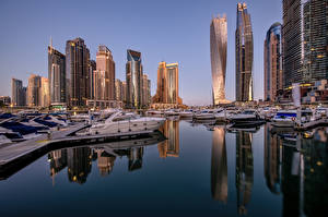 Фотография Объединённые Арабские Эмираты Дубай Дома Небоскребы Яхта Marina Skyline