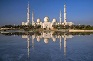Обои ОАЭ Мечеть Отражение Sheikh Zayed Grand Mosque, Abu Dhabi город