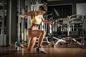 Обои для рабочего стола Фитнес Спортивный зал Физическое упражнение Ног Спорт Девушки