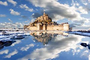 Обои Франция Побережье Крепость Замок Облако Отражение Le Mont-Saint-Michel Природа
