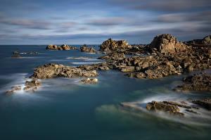Обои Франция Побережье Камень Скале Bretagne
