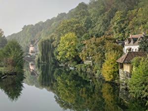 Картинки Франция Реки Здания Пирсы Леса Montigny Природа