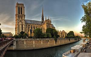 Фото Франция Храм Собор Река Мост Париже Notre-Dame город