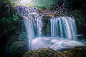 Фото Франция Водопады Камни Утес Мох Carcès Природа